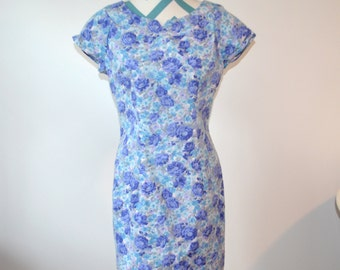 Vintage Floral Print Shift Dress Short Sleeve - Blue, Periwinkle, Purple, Gray Rose Print - All That Jazz - Size 11 / 12 Medium Large