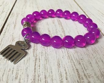 Purple Opalite Beaded Bracelet w/ Duafe Charm