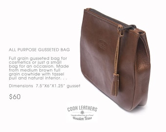 Gusseted Leather Bag