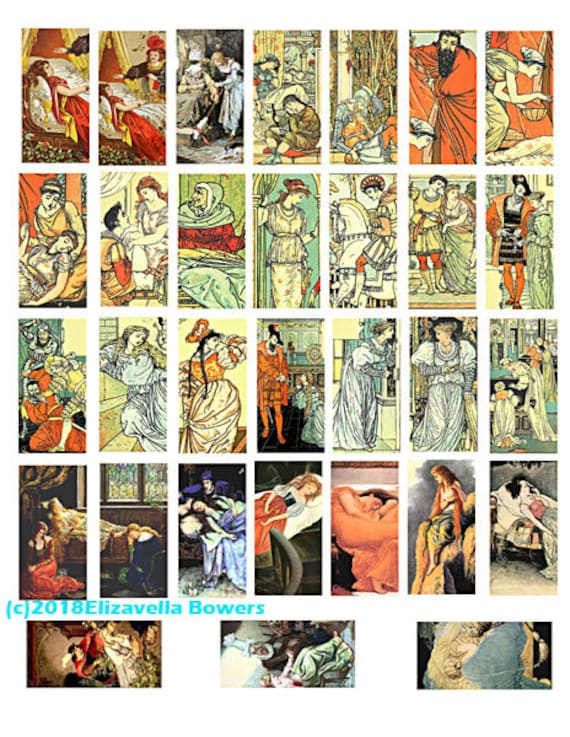 "domino collage sheet 1"" x 2"" inch images  digital download graphics sleeping beauty princess fairytale art clipart domino pendant printables"