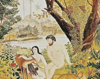 Vintage Print ADAM AND EVE Anonymous American Artist c1830 Garden of Eden God Creation The Fall of Humanity
