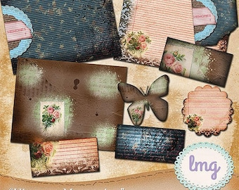 "Vintage Digital Journal Papers - ""Vintage Memories"" - Junk Journal Papers, Digital Junk Journal, 11x8.5, Instant Download, Commercial Use"