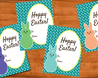 Printable Hoppy Easter Happy Easter Peeps Cards, tags Labels Easter Cards Easter basket goodies tag Class easter bunny notecard