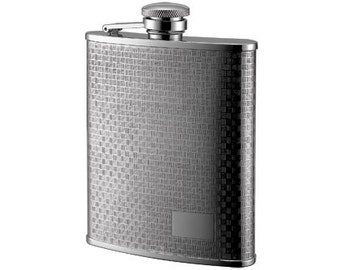 6 oz. Checkered Pattern Stainless Steel Flask