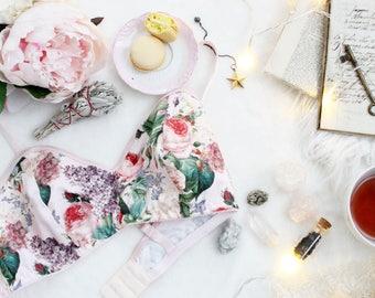 Soft Pink Floral Bra 'Midsummer' Comfortable Cotton Botanical Print Lingerie Handmade to Order