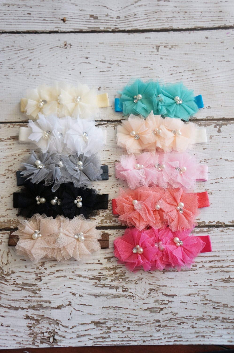 3 Tier Cluster Tulle Baby Headband Choose Form 10 Colors