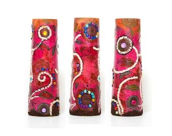 Unique Vase, Glass Vase, Decorative Vase, Mother Gift, Decoupage Vase, Colorful Vase, Hand Painted Vase, Mosaic Vase, Aboriginal Art, Decor