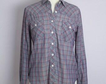 Vintage 1970's Blue Plaid Western Shirt M/L
