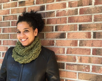 Hand Knit Infinity Scarf | Hand Knit Scarf | Loop Scarf ||| THE LACEY SCARF in Moss Green