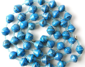 Jewellery Gift | Bead Necklace | Long Blue Necklace | Blue Paper Bead Necklace | Blue Statement Necklace
