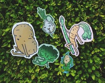 Sexy Veggie Sticker Pack | vegan sticker | veg sticker | veggie illustration