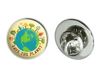 """Save the planet illustration conservation metal 0.75"""" lapel hat pin tie tack pinback"""