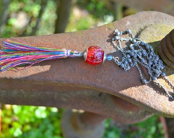 Rainbow Tassel Necklace with long silver beaded chain
