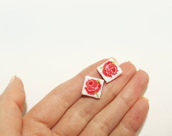 Stud earrings with roses cross stitch embroidery
