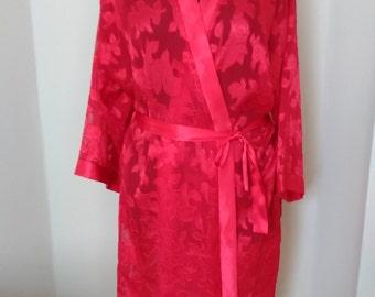 Red Floral Kimono Lace Robe    Plus size Kimono Robe   Mothers Day Gift