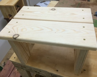 step stool, wood step stool, kids step stool, kitchen step stool, cabin furniture, pine step stool