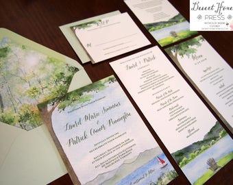Outdoor Wedding Invitations - Lake Wedding Invites - Nature Wedding Invitation Suite - Vermont Wedding Suite