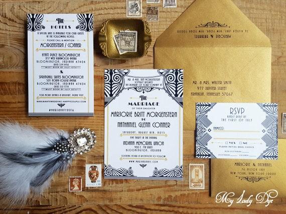 100 Gatsby Wedding Invitations Art Deco Invite Art Nouveau