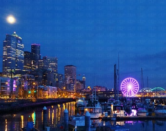 Colorful Seattle Waterfront Marina Great Wheel Skyline Nighttime Moonshine Deep Blue Sky 8 X 10 Glossy