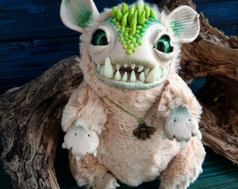 FANTASY PLUSH ANIMALS Crazy Dino Ooak Fantasy Creature Doll Art Dragon Sculpture Ooak Doll Art Fantasy Sculpture Funny Crazy Dragon Toy Ooak