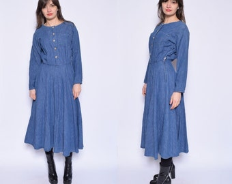 Vintage 70's Blue Denim  Dress /  Button Denim Dress / Jean Button Dress/Full Circle Denim Dress - Size Extra Small/XS