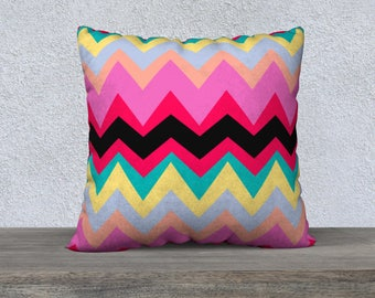 Funky Bright Pink Aztec Chevron Pillow Cover