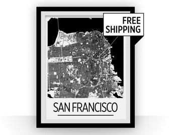 San Francisco Map Poster - usa Map Print - Art Deco Series