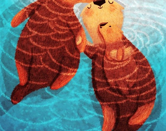 "Otter Art Print, Sea otters, Otter Love - ""Three of us"""