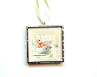 Flower ornament, Spring decor tree trimming, Mothers day gift, stained glass photo ornament, flower bouquet photography, mini wall art