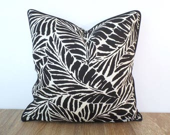 Black outdoor pillow cover 18x18 palm leaf print, tropical cushion black and white, swaying palm pillow case Palm Beach Decor