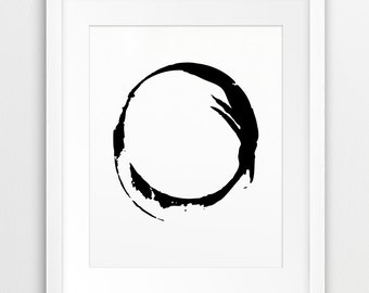 Abstract Circle Print, Abstract Art Black & White, Modern Decor, Minimalist, Abstract Wall Art, Zen Art, Home Office Decor, Printable Art