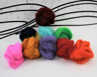 Hand dyed alpaca roving in jewel and bright tones, Wooly Buns, 9 shades,1.5 ounce fiber assortment, needle felting supplies, wet nuno fibers