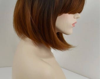 Textured bob wig with heavy fringe/Bangs - Ombre Root Smudge/Shadow - Balayage - Synthetic Heat Resistant Japanese Fiber 1b/30