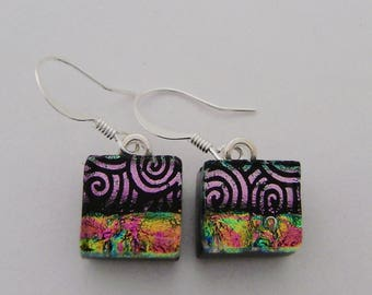 Dichroic earrings. dichroic jewelry
