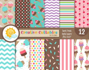 Ice Cream Party Digital Paper, Commercial Use, Scrapbook Papers and Backgrounds