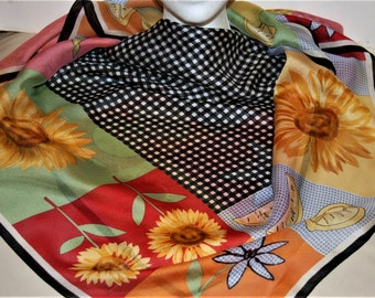 "TALBOTS Silk Scarf 34x34"" Multi Color - Checks Floral"
