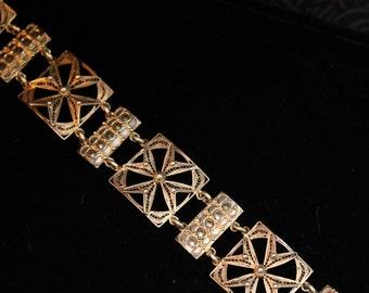 Lacey Silver & Cut Steel Ornate Linked Bracelet