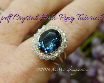 Crystal Halo Ring Tutorial, Wire Wrapping Ring Tutorial, PDF Ring pattern, How to Make a Crystal Halo Ring, Step by Step Instructions,