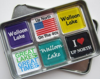 WALLOON LAKE, Charlevoix, Petoskey, Up North Michigan, Magnets Set, Northwest Michigan Souvenir