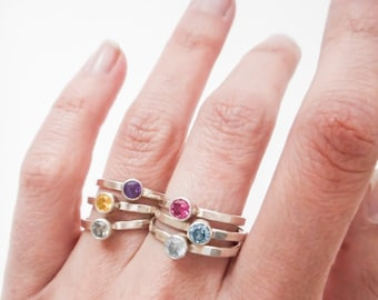 Stacking Birthstone Ring  //  Choose Your Own Birthstone