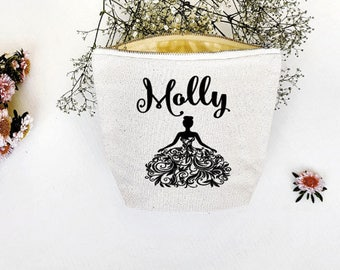 Personalised Cosmetic Bag , Flower Girl Gift , Cosmetic Bag , Bridesmaid Gift , MakeUp Bag ,  Custom Name Pouch - Flourish Dress Pouch
