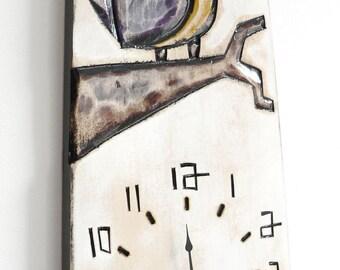 Purple Bird Clock_Horloge Oiseau