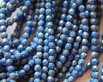 4mm Blue Picasso Fire Polished Beads - Opaque Blue Picasso Fire Polished - Picasso Finish - Czech Glass Beads - Bead Soup Beads