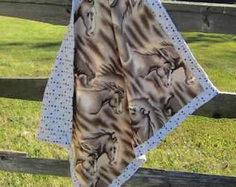 Handcrafted Horse Head Brown Fleece Baby Blanket w/gray dot flannel border
