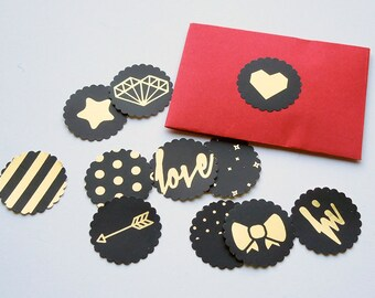 Black and gold stickers / envelope seals