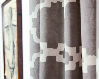 Window curtains, Geometric pattern, Tile Ogee Modern Lattice, Grey Curtains, bedroom drapes, Modern panels, 44 x 84 home living - CHAINLINK