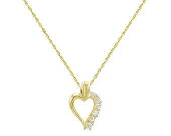 14K Yellow Gold 6-Stone Heart Cubic Zirconia (CZ) Necklace