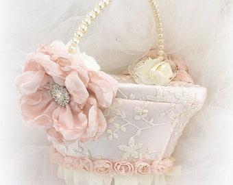 Vintage Style Flower Girl Basket Blush Pink Ivory Round Lace Wedding Girl Basket Elegant Pearl Handle Basket Pearl Handle Gatsby