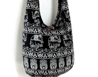 Women bag Handbags Cotton Printed bag Elephant bag Hippie Hobo Boho bag Shoulder bag Sling bag Messenger bag Tote bag Crossbody Purse Black