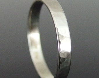 14k White Gold Wedding Ring, Hammered 14k Gold Ring, White Gold Wedding Band, White Gold Wedding Ring, Low Profile, 3 x 0.8 mm